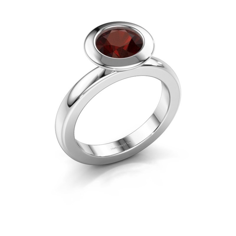 Stacking ring Trudy Round 585 white gold garnet 7 mm