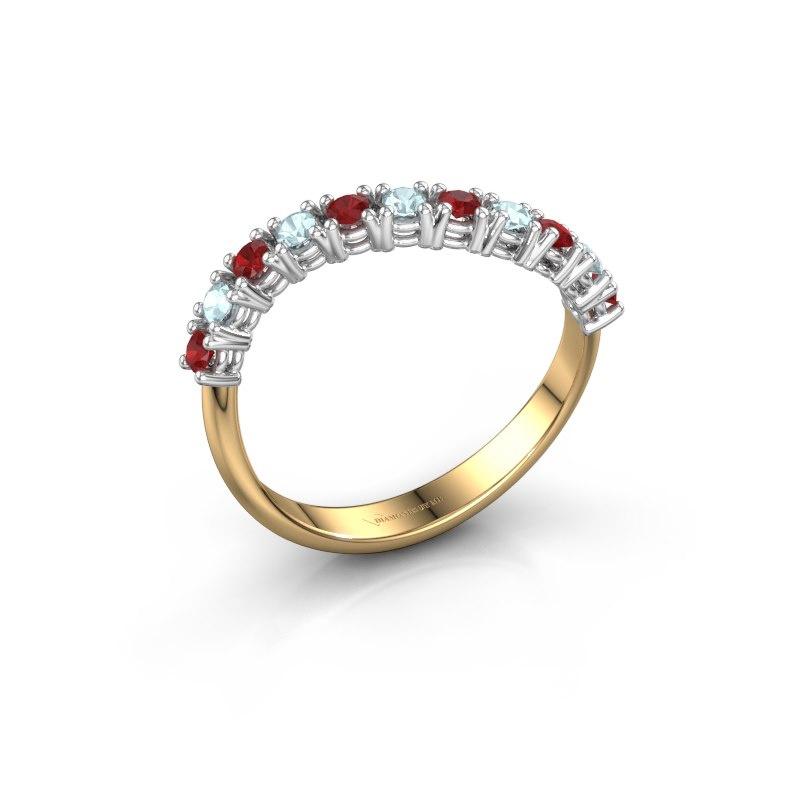 Ring Eliza 585 goud robijn 2 mm