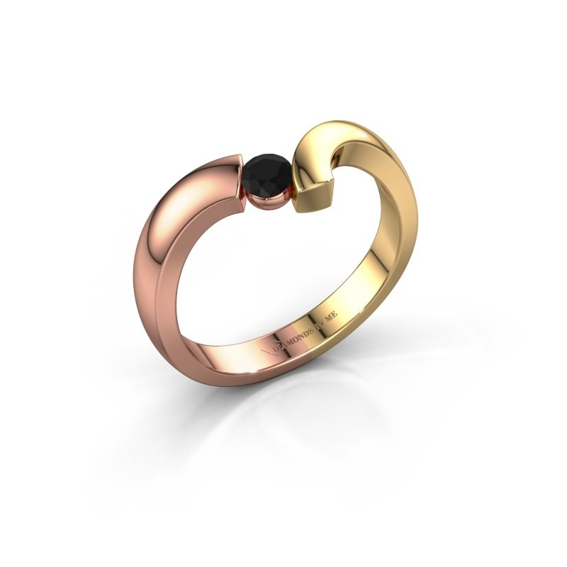 Ring Arda 585 rosé goud zwarte diamant 0.18 crt