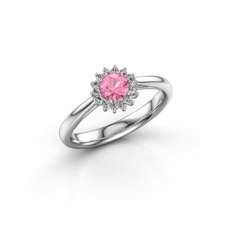 Verlobungsring Mariska 1 950 Platin Pink Saphir 4.2 mm
