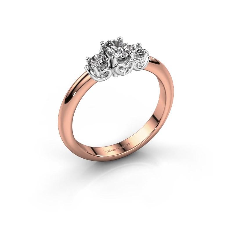 Verlovingsring Frederique 585 rosé goud diamant 0.39 crt