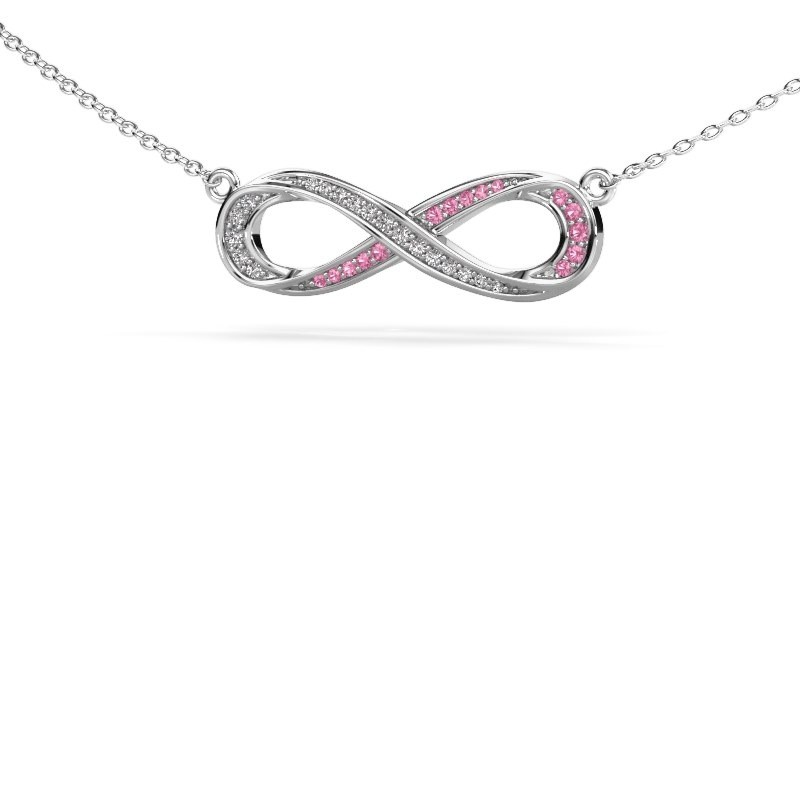 Collier Infinity 2 585 witgoud roze saffier 0.8 mm