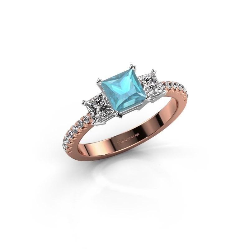 Engagement ring Dorla 585 rose gold blue topaz 5 mm