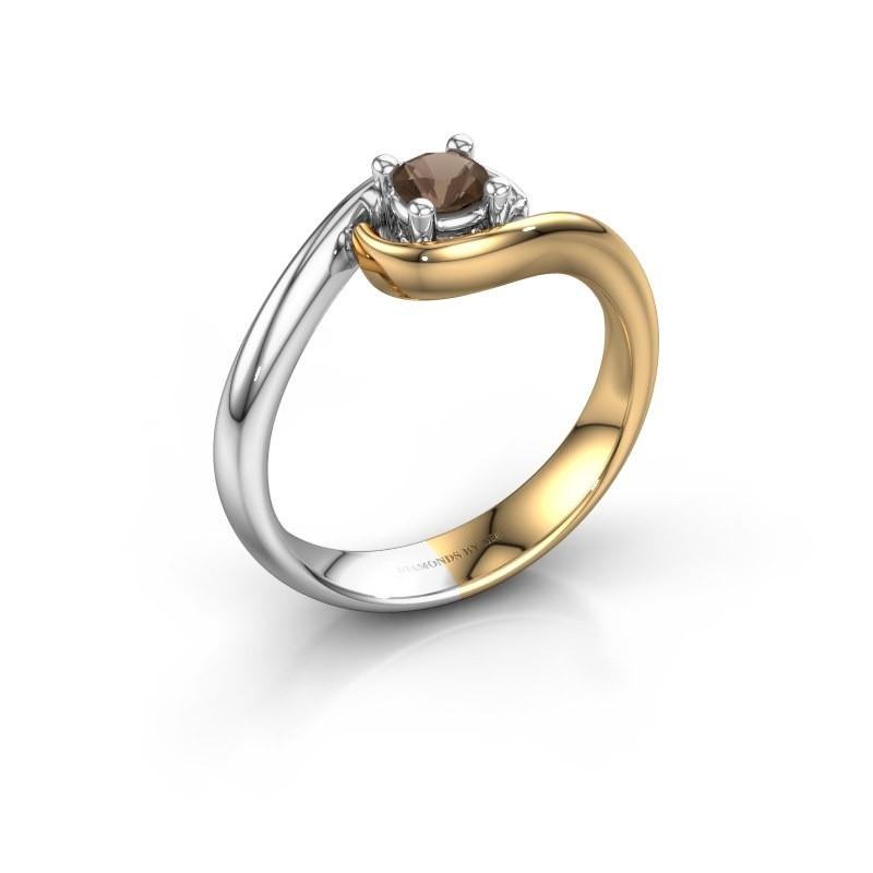 Ring Linn 585 gold smokey quartz 4 mm