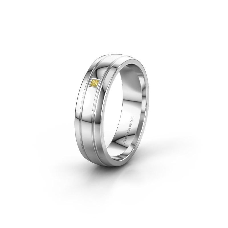Wedding ring WH0422L25X 585 white gold yellow sapphire ±5x1.5 mm