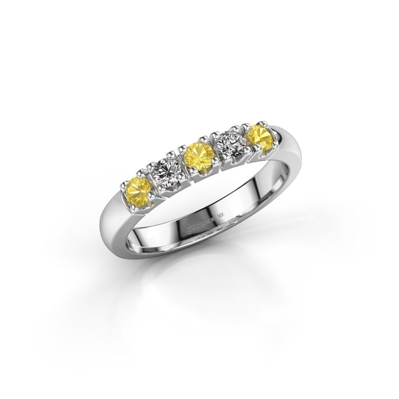 Engagement ring Rianne 5 925 silver yellow sapphire 2.7 mm