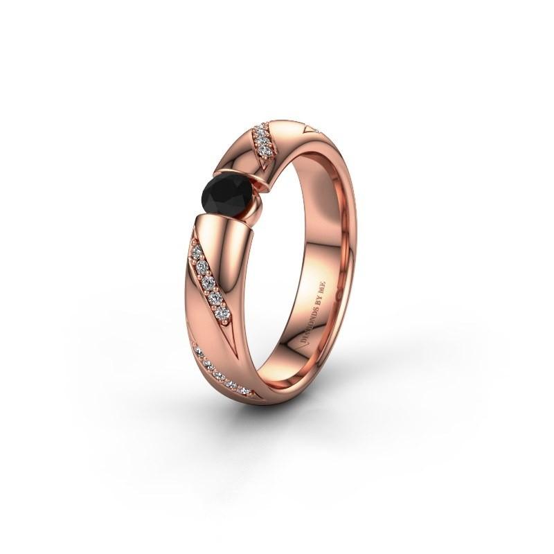 Trouwring WH2102L34A 375 rosé goud zwarte diamant ±4x1.7 mm