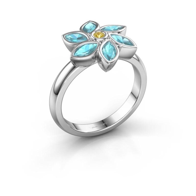 Ring Amina 925 silver yellow sapphire 2 mm