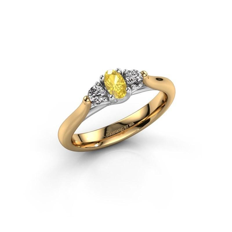 Verlovingsring Jente OVL 585 goud gele saffier 5x3 mm