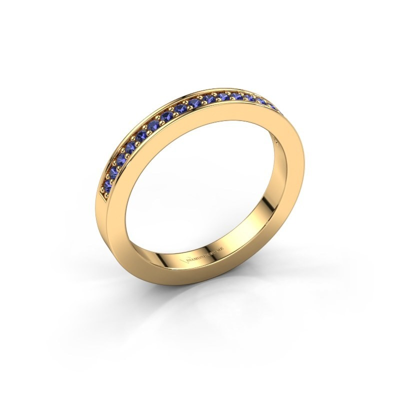 Stackable ring Loes 4 375 gold sapphire 1.3 mm
