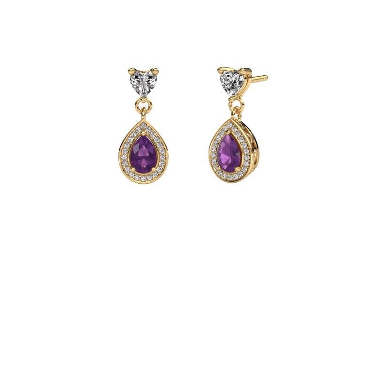 Drop earrings Susannah 375 gold amethyst 6x4 mm
