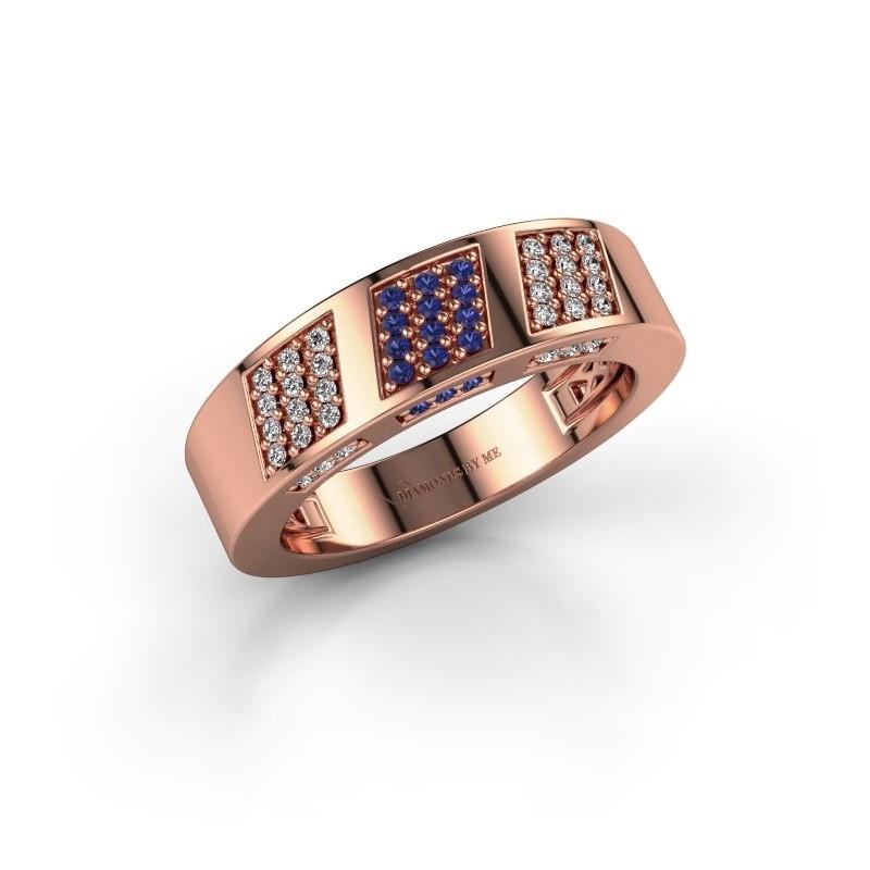 Ring Jessika 375 rosé goud saffier 1.1 mm
