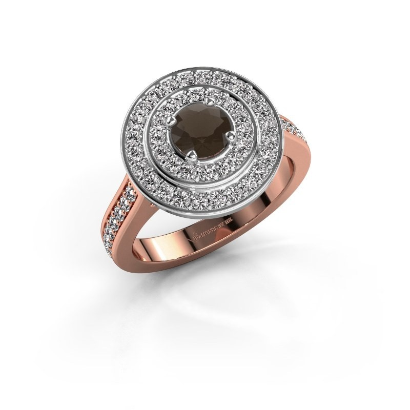 Ring Alecia 2 585 rosé goud rookkwarts 5 mm