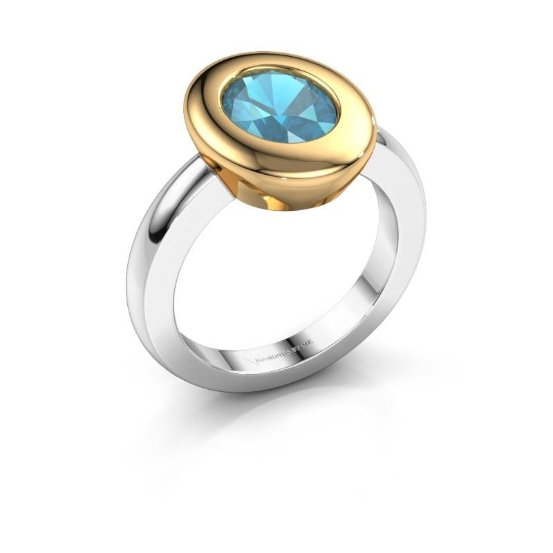 Ring Selene 1 585 witgoud blauw topaas 9x7 mm