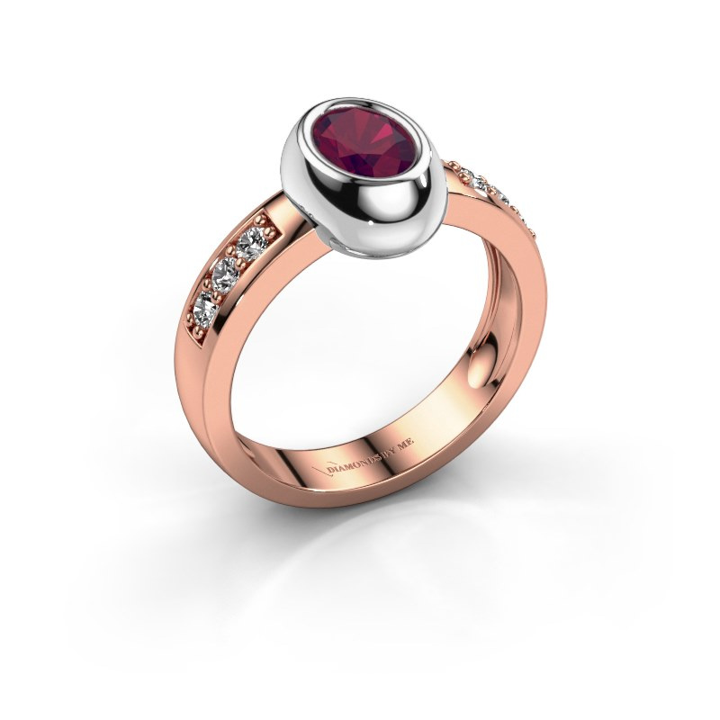 Ring Charlotte Oval 585 rose gold rhodolite 7x5 mm
