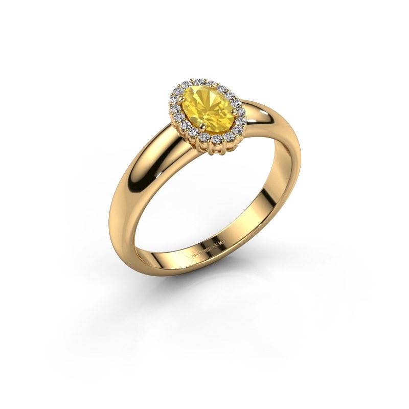 Verlobungsring Tamie 585 Gold Gelb Saphir 6x4 mm