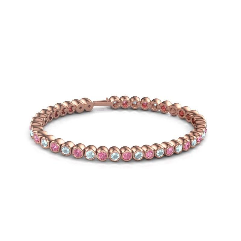Tennisarmband Mellisa 375 rosé goud roze saffier 3.5 mm