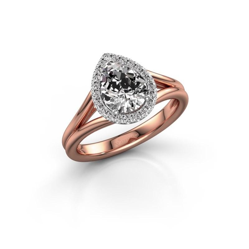Verlovingsring Elenore 585 rosé goud diamant 1.097 crt