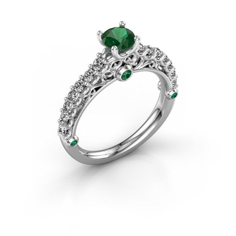 Verlovingsring Shaunda 950 platina smaragd 5 mm