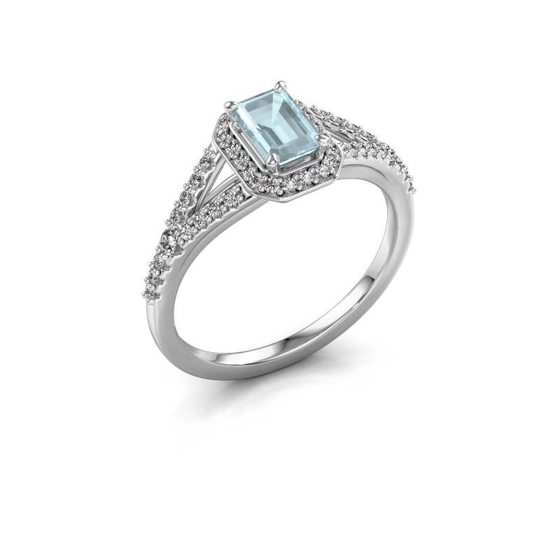 Engagement ring Pamela EME 950 platinum aquamarine 6x4 mm