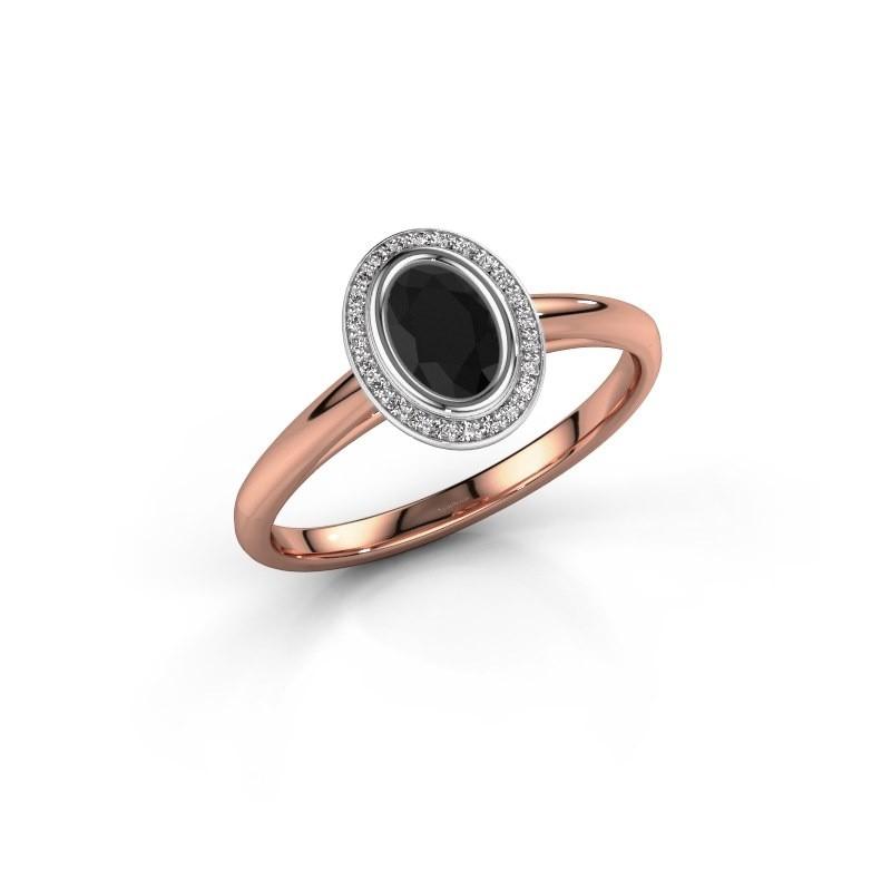Verlovingsring Noud 1 OVL 585 rosé goud zwarte diamant 0.660 crt