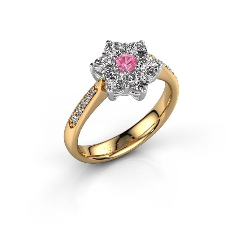 Verlovingsring Chantal 2 585 goud roze saffier 3 mm