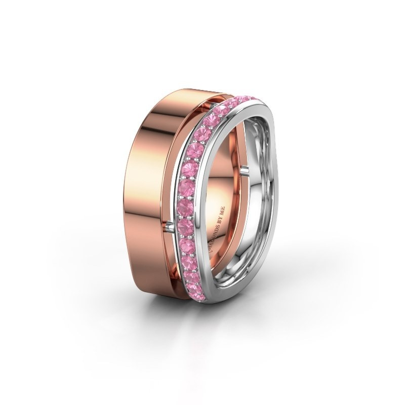 Huwelijksring WH6008L18BP 585 rosé goud roze saffier ±10x2 mm
