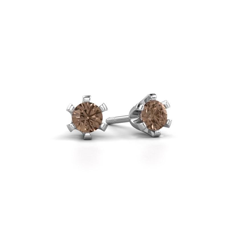 Stud earrings Shana 950 platinum brown diamond 0.25 crt