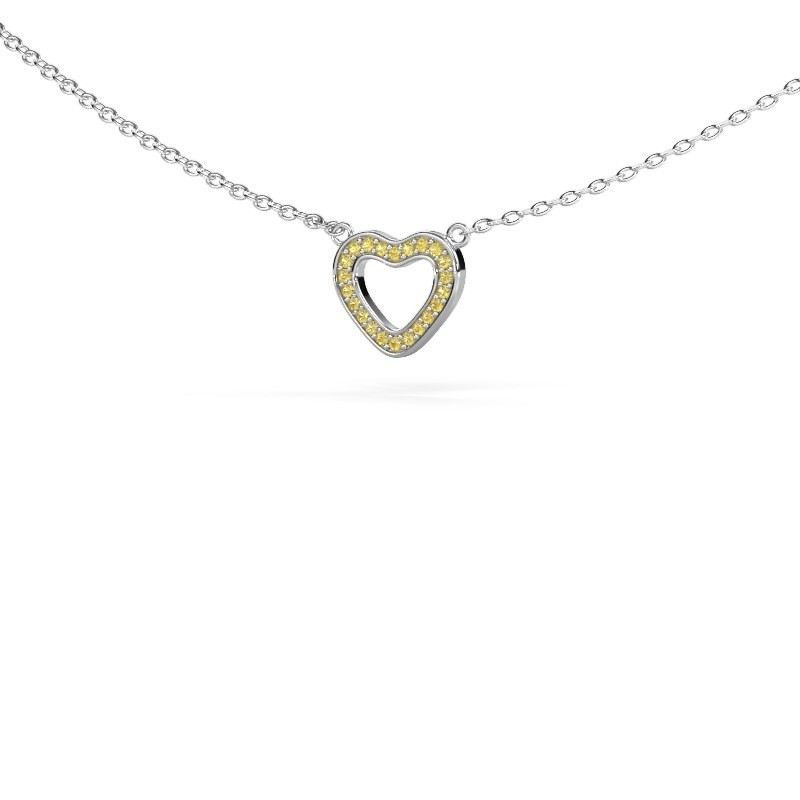 Pendentif Heart 4 925 argent saphir jaune 0.8 mm