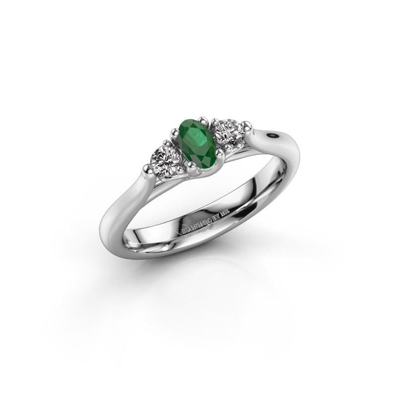 Verlovingsring Jente OVL 950 platina smaragd 5x3 mm