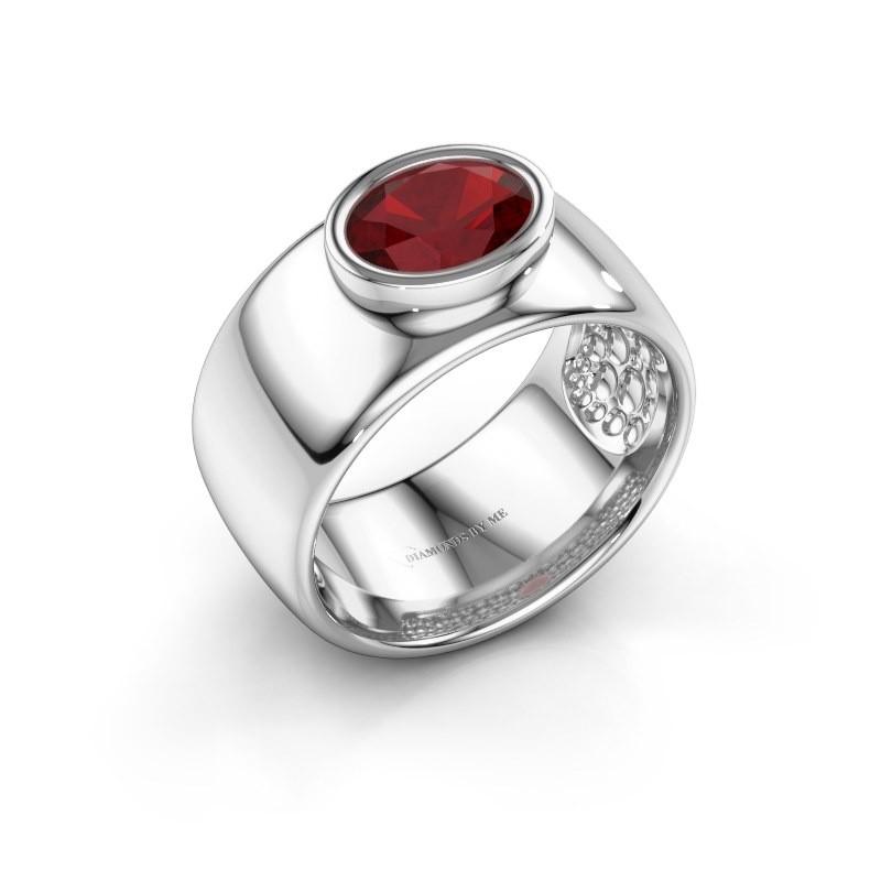 Ring Anouschka 925 zilver robijn 8x6 mm