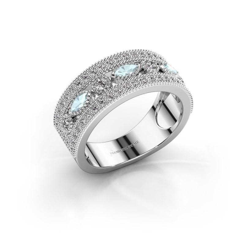 Ring Henna 585 witgoud aquamarijn 4x2 mm