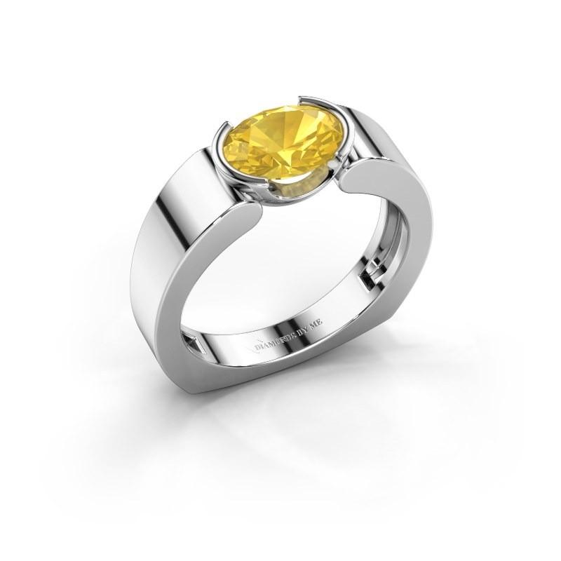 Ring Tonya 950 platina gele saffier 8x6 mm