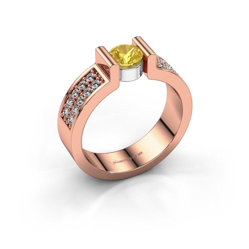 Verlovingsring Isabel 3 585 rosé goud gele saffier 5 mm
