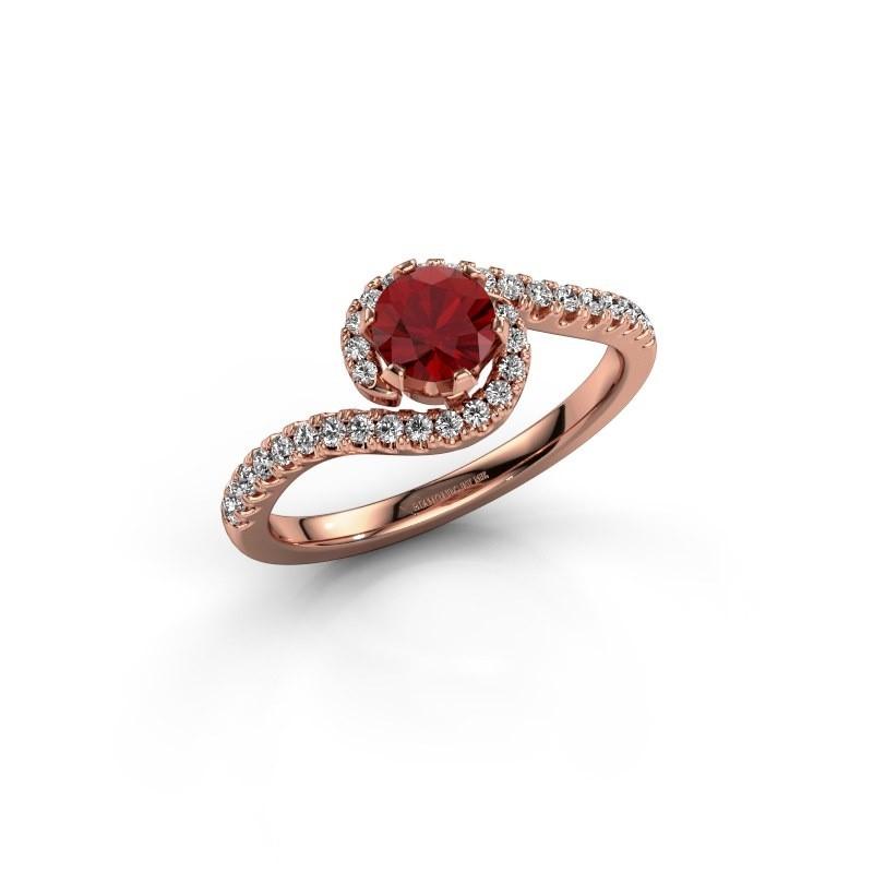 Verlovingsring Elli 375 rosé goud robijn 5 mm