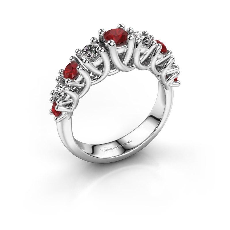 Engagement ring Fatima 950 platinum ruby 3.7 mm