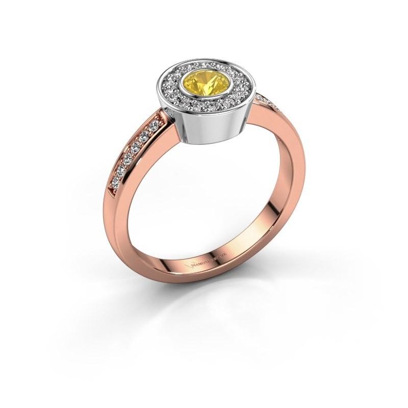 Ring Adriana 2 585 rosé goud gele saffier 4 mm