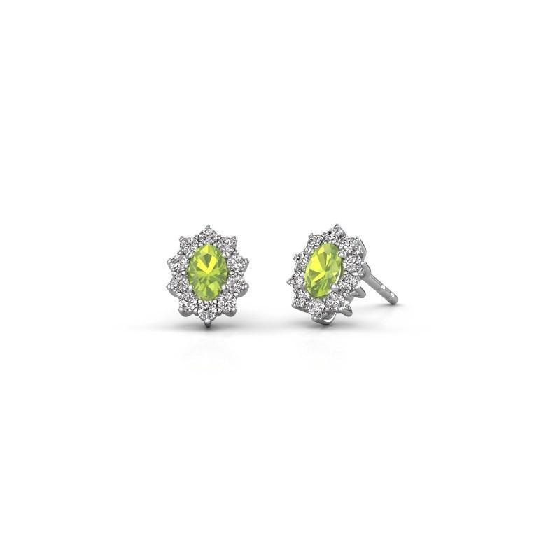 Earrings Leesa 925 silver peridot 6x4 mm