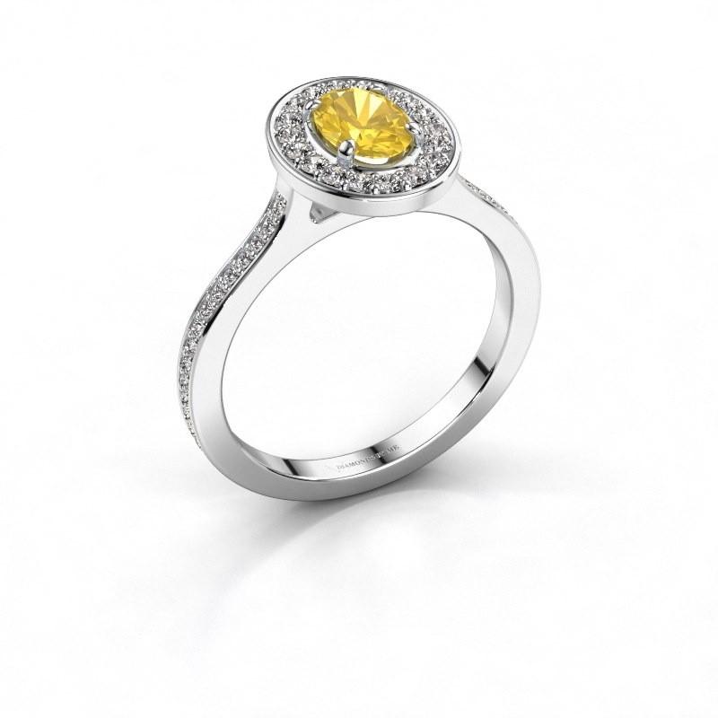 Ring Madelon 2 585 witgoud gele saffier 7x5 mm