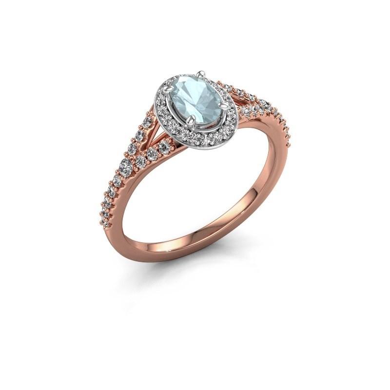 Belofte ring Pamela OVL 585 rosé goud aquamarijn 7x5 mm
