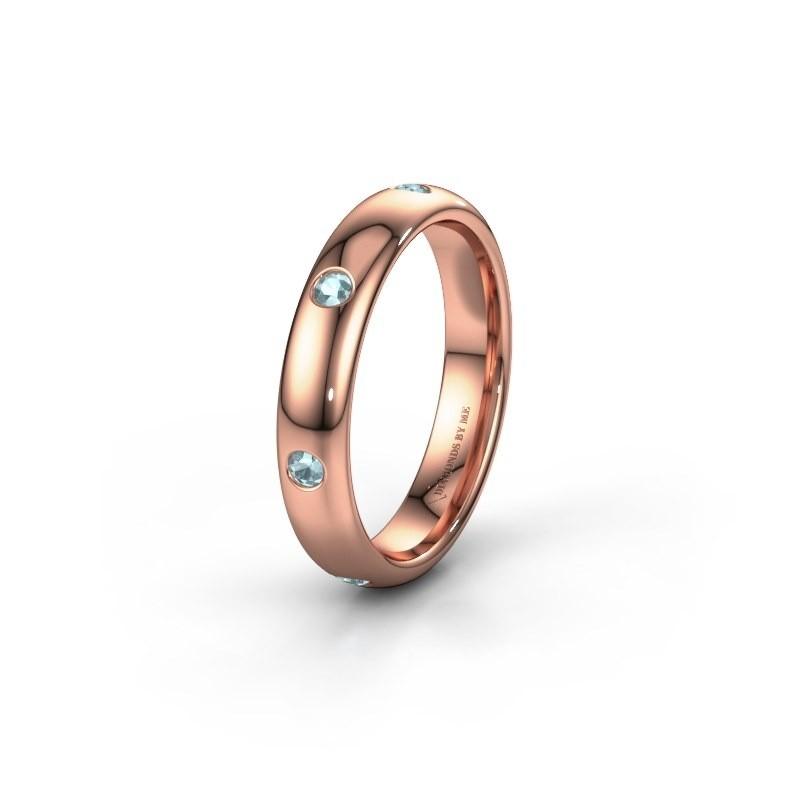 Wedding ring WH0105L34BP 585 rose gold aquamarine ±0.16x0.08 in