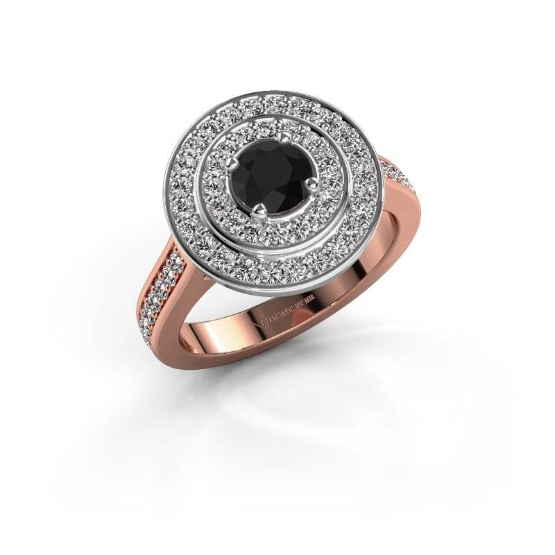 Ring Alecia 2 585 rosé goud zwarte diamant 1.090 crt