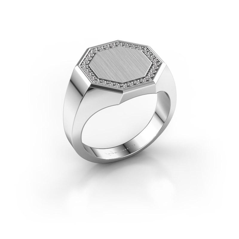 Heren ring Floris Octa 3 585 witgoud zirkonia 1.2 mm