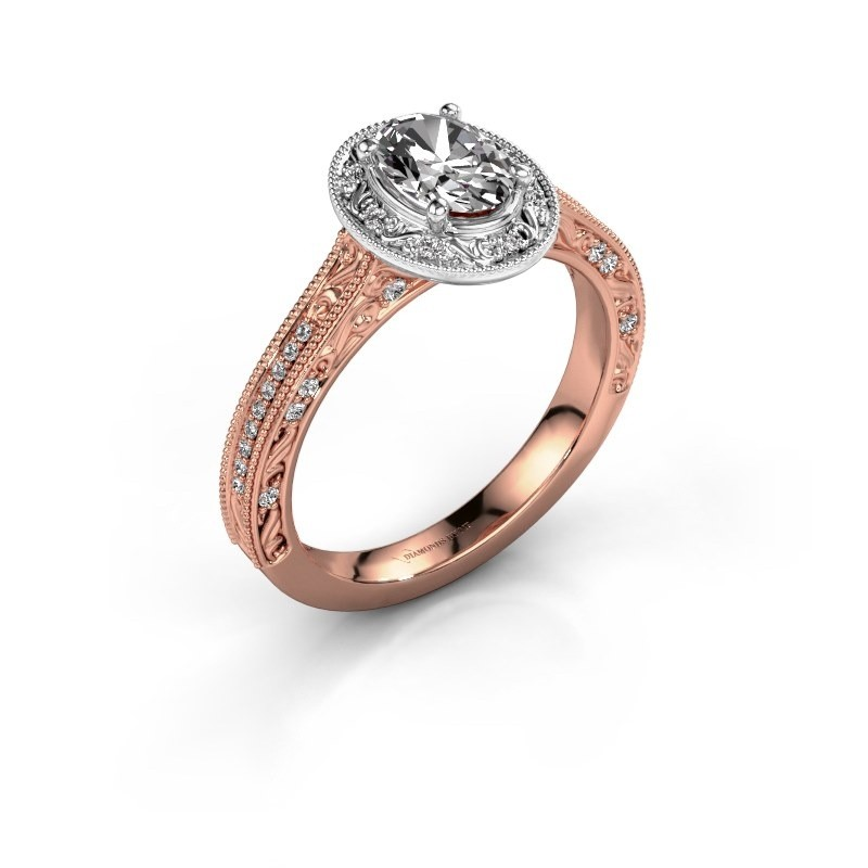 Engagement ring Alice OVL 585 rose gold lab-grown diamond 0.905 crt