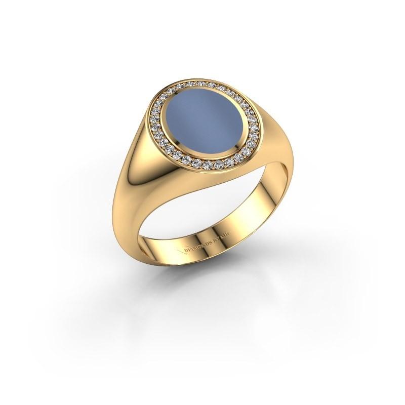 Pinkring Adam 1 585 goud licht blauwe lagensteen 10x8 mm