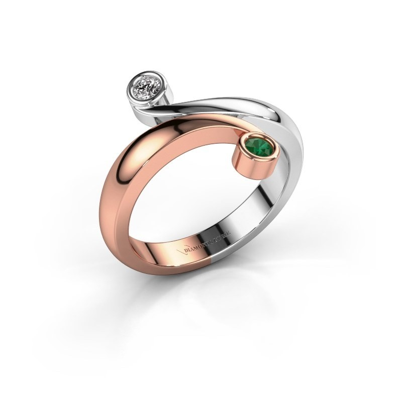 Ring Hilary 585 rosé goud smaragd 2.5 mm