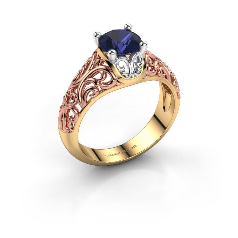Ring Mirte 585 goud saffier 6.5 mm