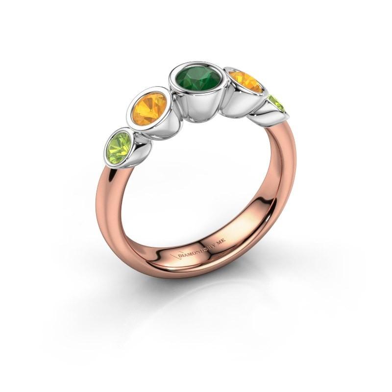 Ring Lizz 585 rosé goud smaragd 4 mm
