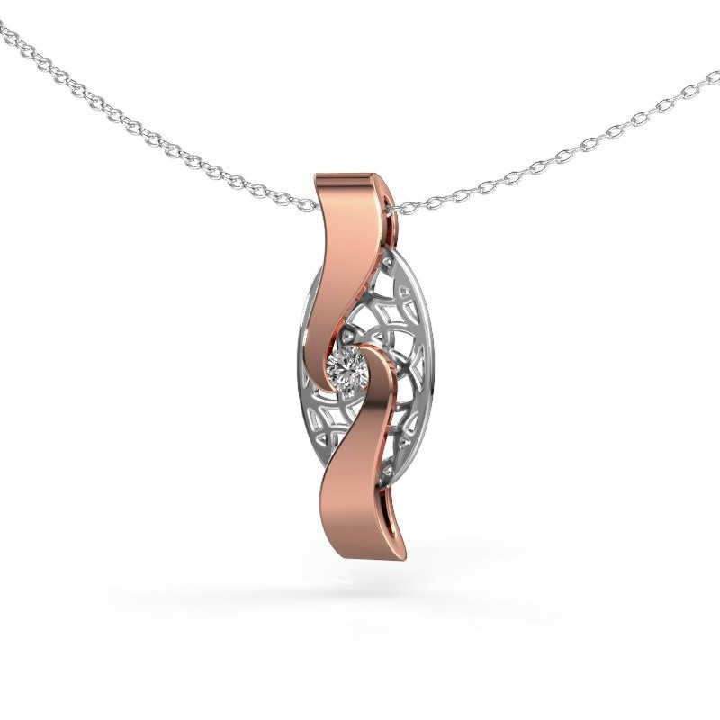 Hanger Darleen 585 rosé goud diamant 0.10 crt