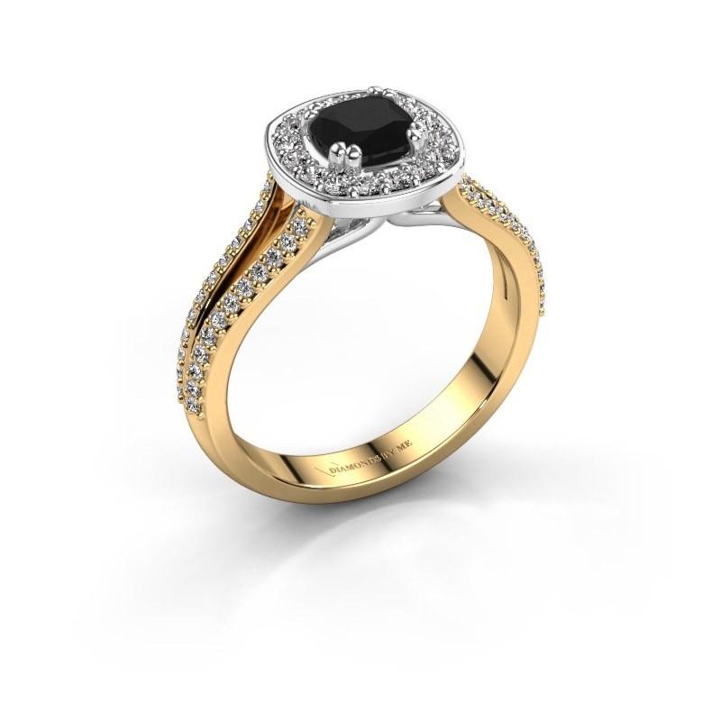 Engagement ring Carolina 2 585 gold black diamond 1.00 crt